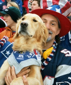 Ostend and Randy in full Patriots gear.