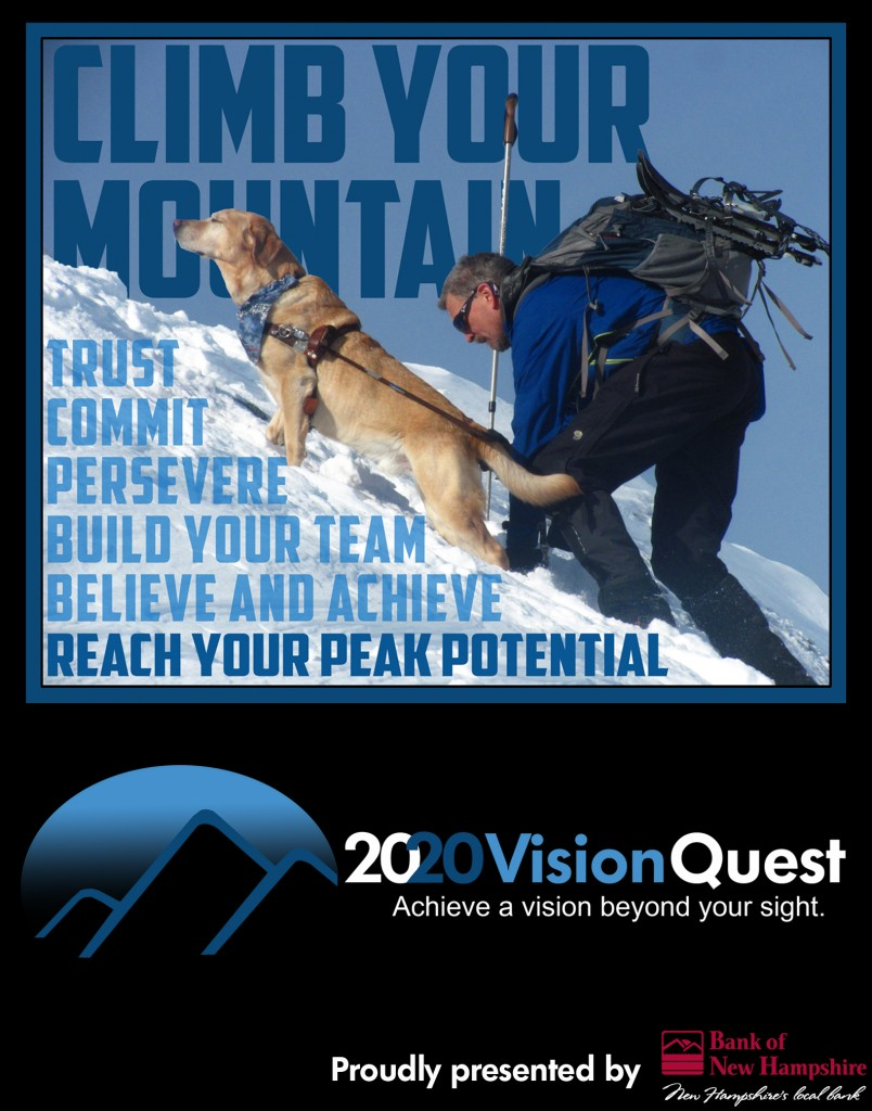 "2020 Vision Quest Poster with Quinn and Randy on a winter slope, with the words ""Climb Your Mountain"" superimposed"