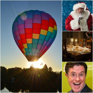 A collage of photos show a colorful hot air balloon, a picture of santa with a finger over his lips, a table set for a fine dinner, and a head and shoulders shot of Stephen Colbert.