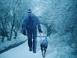 Randy and Autumn in the winter, with an icy blue filter