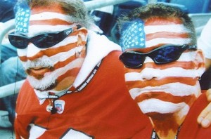 Randy and Jose at Gilette Stadium in full flag face paint
