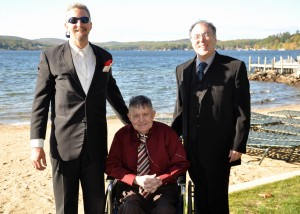 Randy poses, on his wedding day, with his dad Bud and his brother Rick.