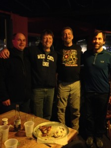 Brian Leno, Brent Bell, Randy Pierce, and Erik Weihenmayer out for burgers.