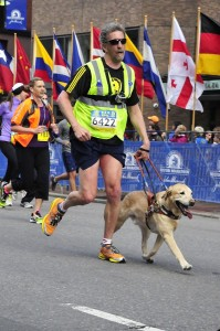 Quinn and Randy run the BAA 5k in April 2013.