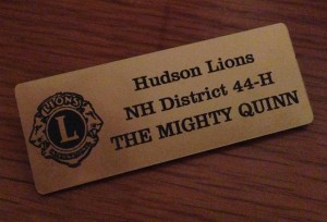 "Nametag reading, ""Hudson Lions, NH District 44-H, The Mighty Quinn"""