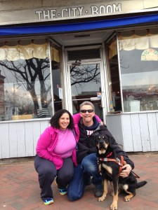 Tracy, Randy and Autumn pose outside of their favorite breakfast place, The City Room.