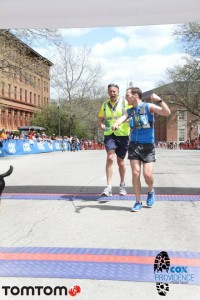Randy and Thor crossing the finish line at the Cox Providence Marathon, May 2014