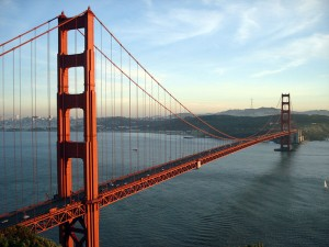 A view of the Golden Gate Bridge from the Marin Headlands in January 2007. Courtesy of Wikipedia.
