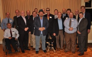 Group photo of Randy and his fraternity brothers reuniting for a fun evening out.