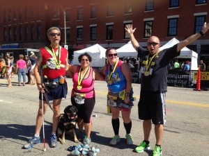 Tracy and friends just finishing the New England half marathon. Photo courtesy of Tracy Pierce.