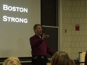 Randy presents to students at UNH.