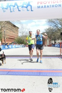 "Randy and Guide Thor crossing the Finish line of Cox Providence on 5/4/2014 to qualify for Boston as detailed in ""Qualifying for Quinn."""