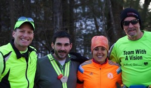 Randy and his Boston Guide team of friend/coach Greg Hallerman and Guide team of Christine and Peter Houde from their last training long run together.