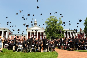 Graduates Celebrate with traditional cap toss