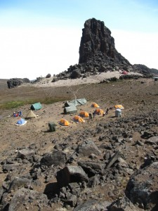 Hikers camping near the Lava Tower at Kilimanjaro.