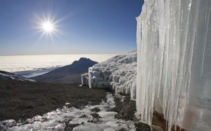 Ice at the Kilimanjaro summit.