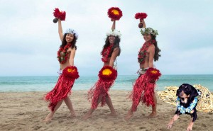 Autumn does a hula in Hawaii.