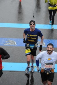 Peter Houde and Randy running at the Boston Marathon 2015.
