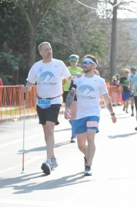 Jose and Randy running together in the Boston Marathon 2016