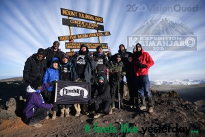 Randy and the expedition hiking group on the summit of Kilimanjaro.