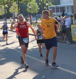 Randy and Rob running in a race.