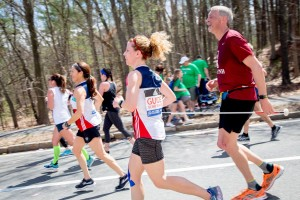 Rebecca and Randy running in the Boston Marathon