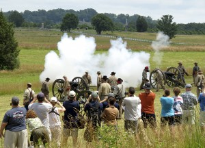 Living History at Gettysburg NMP include black powder cannon demonstrations. Source: National Park Service.