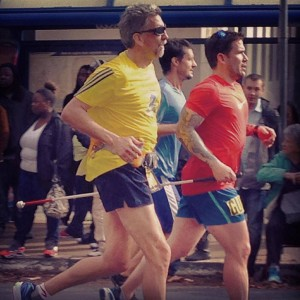 Randy and Jose running in the California International Marathon in 2014.