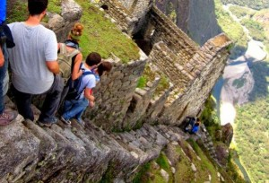 Steep outdoor stairs in a Peruvian ruin