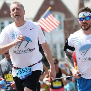 Randy and Jose run the Boston Marathon in 2016, despite many health challenges.