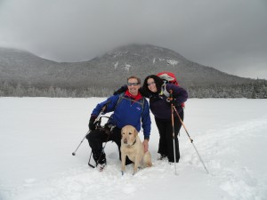 Quinn, Randy, and Tracy on a winter hike