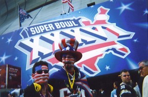 "Randy and Jose head into the Feb 3, 2002 Super Bowl adorned in full ""patriotic"" regalia"