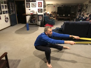 Randy works on stretching.