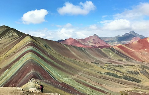 Stunning vista shows Peru's amazing Rainbow Mountain ridge--a string of high peaks striped in at least 20 different pastel colors in a wide variety of shades.