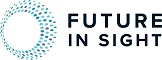 Logo of Future In Sight, Living Better With Vision Loss, including a picture of a blind person  			with a cane on a small map of NH background