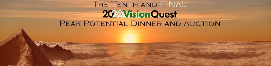 Our 10th Annual Peak Potential Charity Dinner and Auction banner:  		Morning sunrise aerial view over a thick layer of undercast clouds, lighting the tops of the clouds and a large  		mountain peak on the left, poking up above the cloud layer.