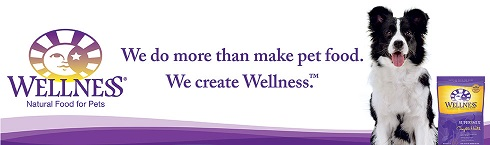 An image of the Wellness Pet Food logo: a smiling face on the left, a cute dog looking at the  					camera on the right and the words 'We do more than create pet food. We create Wellness' in the middle.