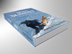 Book cover of See You At The Summit, featuring Randy and his golden lab Quinn climbing a snowy mountain.