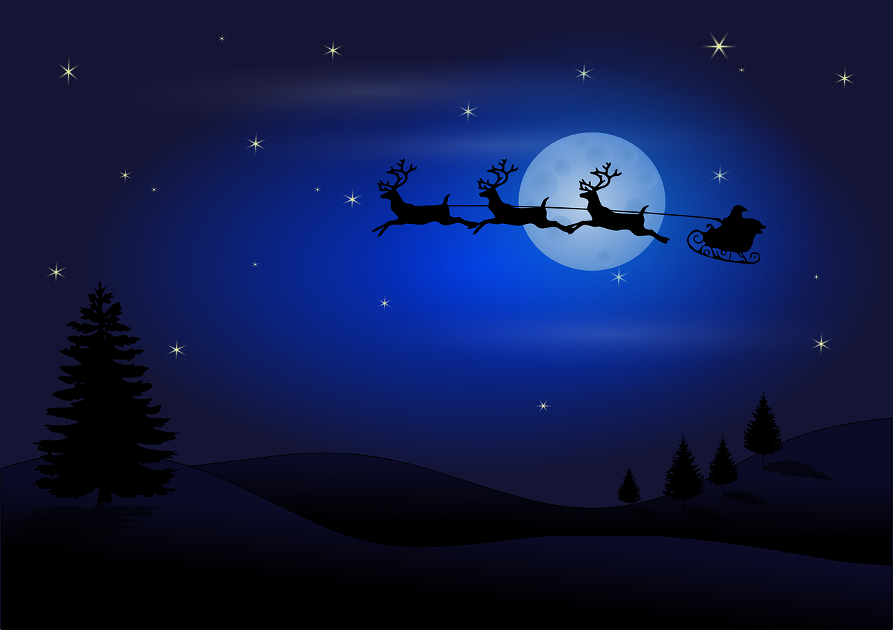 Santa and the reindeer flying at night with the moon in the background.