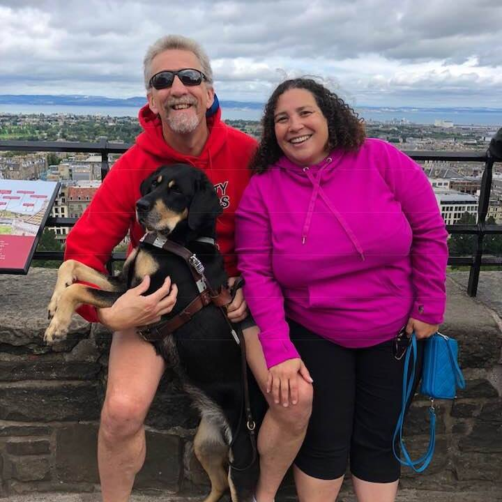 Randy, Tracy, and Autumn in Scotland, August 2018 at the top of Edinburgh Castle.