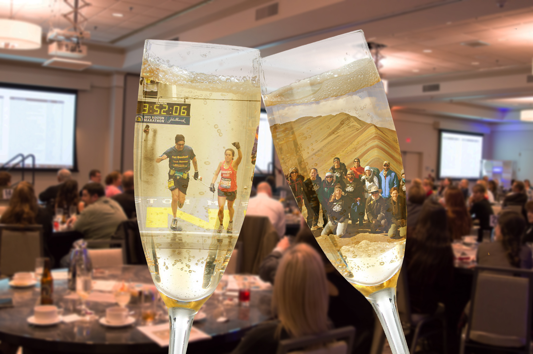 Two champagne glasses through which are visible a photo of Randy and teammate running the Boston Marathon and Randy and his team in front of Rainbow Mountain in Peru are visible.