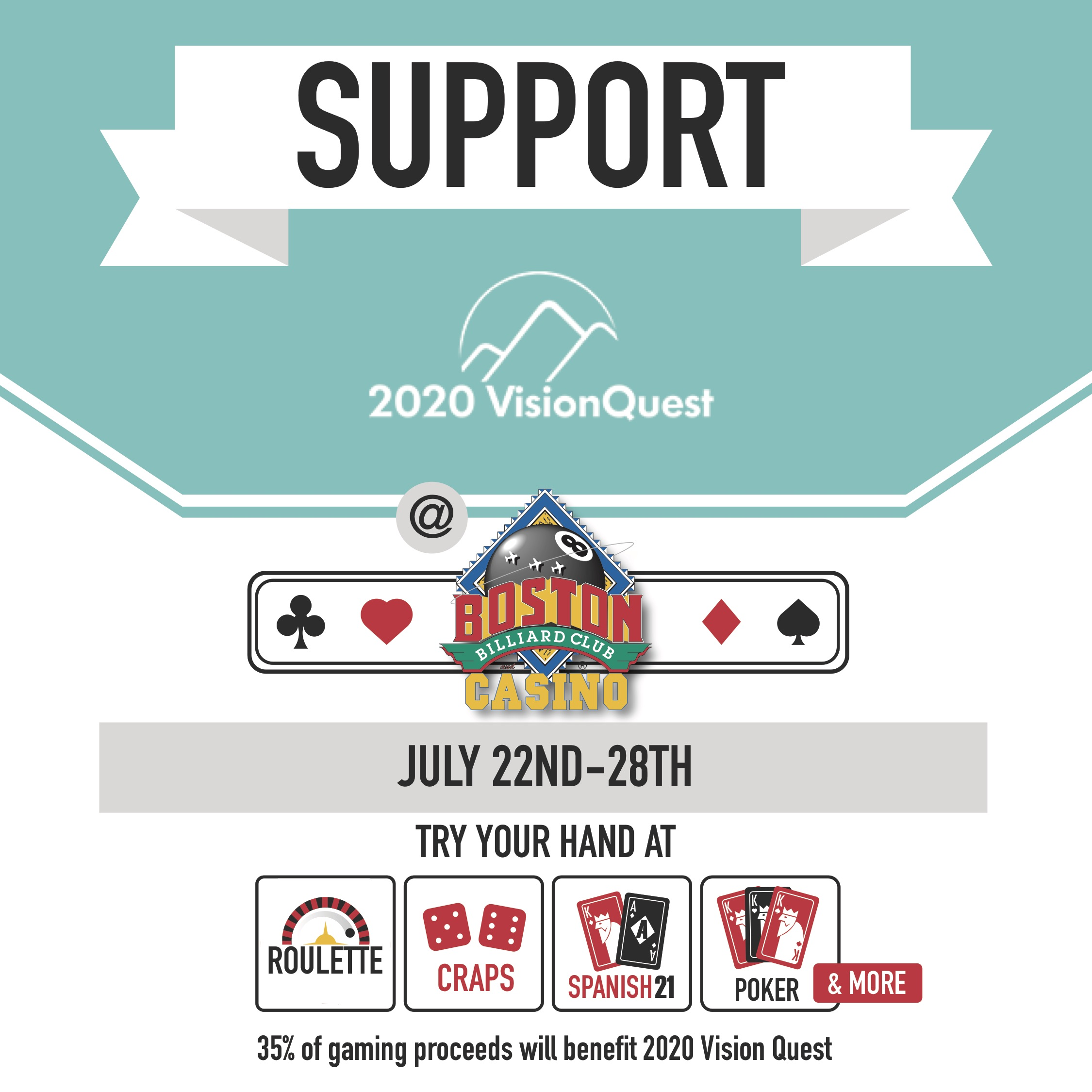 Boston Billiard's Poster for supporting 2020 Vision Quest