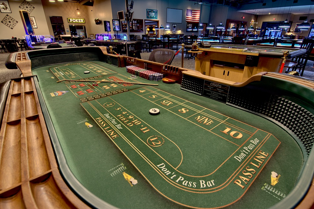 Long view of a craps table.
