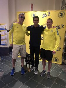 Randy Pierce, Tedy Bruschi, and Rodney Andre the day prior to the 2019 Boston Marathon.