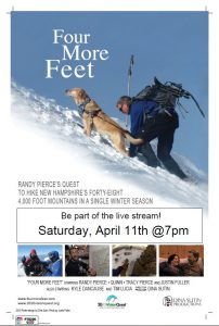 "Movie poster for ""Four More Feet"" featuring the iconic picture of Quinn and Randy trekking up a snowy mountainside. Text says, ""Be part of the live stream! Saturday, April 11th @7pm"""