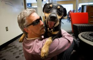 Man with sunglasses, curly hair, and a mauve shirt hugging a happy black and tan lab dog with her tongue out, panting happily.